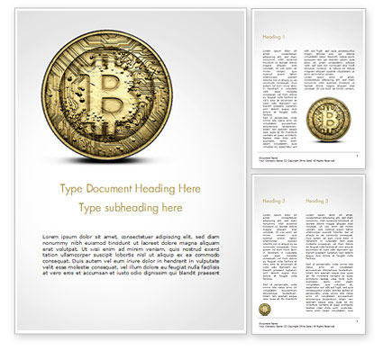 Gold Coin with Bitcoin Sign Word Template, 15029, Technology, Science & Computers — PoweredTemplate.com
