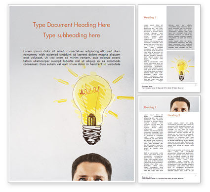 Man with Drawn Yellow Light Bulb Word Template, 15037, Business Concepts — PoweredTemplate.com