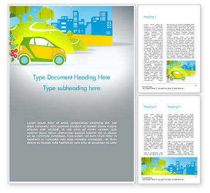 Eco Car Word Template, 15039, Cars/Transportation — PoweredTemplate.com