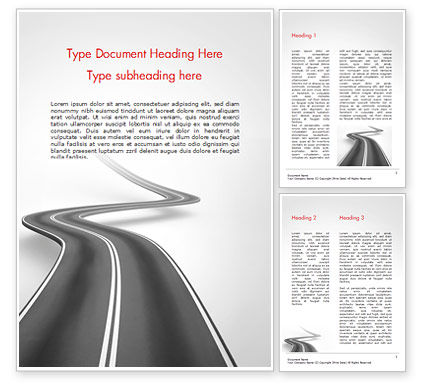 Uphill Winding Road Word Template, 15043, 3D — PoweredTemplate.com