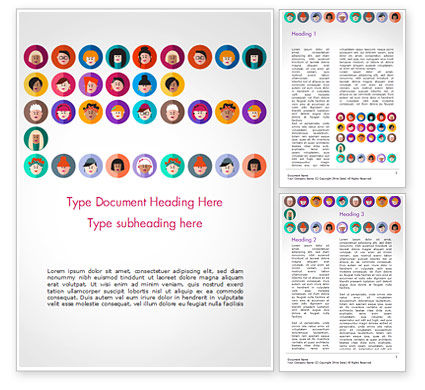 Avatar Icons in Flat Design Word Template, 15055, People — PoweredTemplate.com