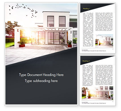 Construction: Stylish Modern Home Word Template #15056