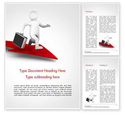 3D Businessman Runs on the Red Arrow Word Template, 15057, 3D — PoweredTemplate.com