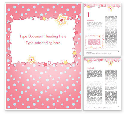 Pink Greeting Card Word Template, 15067, Holiday/Special Occasion — PoweredTemplate.com