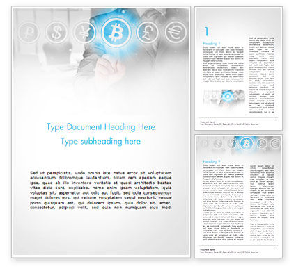 Financial/Accounting: Man Pressing Bitcoin Icon Word Template #15072