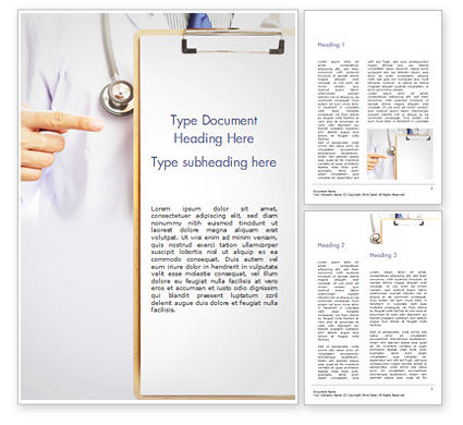 Doctor with Clipboard Word Template, 15077, Medical — PoweredTemplate.com
