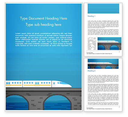 High-Speed Train Illustration Word Template, 15078, Cars/Transportation — PoweredTemplate.com