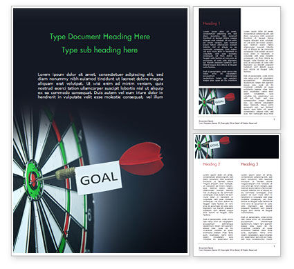 Business Concepts: Dart with Goal Text Word Template #15089