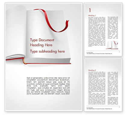 Education & Training: Open Book with Red Bookmark Word Template #15097