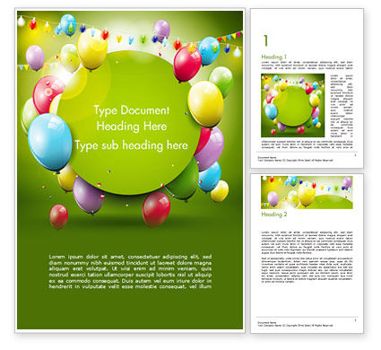 Colorful Balloons and Garlands Word Template, 15099, Holiday/Special Occasion — PoweredTemplate.com