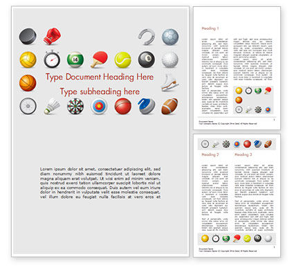 Sports Equipment Icons Word Template, 15100, Sports — PoweredTemplate.com