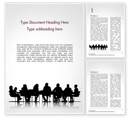 Business: Business People Silhouettes Word Template #15130