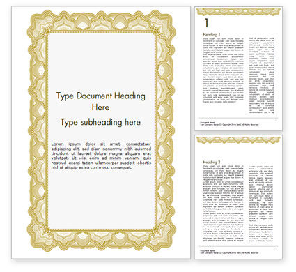 Abstract/Textures: Certificate with Sinuous Pattern Word Template #15131