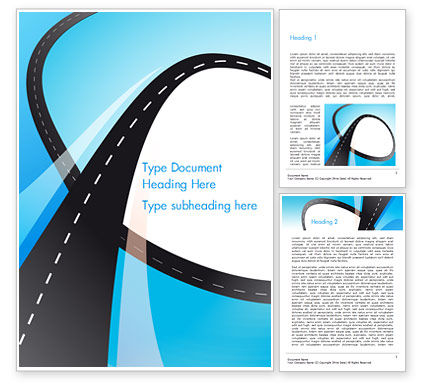 Business Concepts: Uphill Winding Road on Blue Background Word Template #15135
