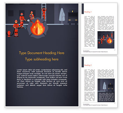 Careers/Industry: Fire Extinguishing Illustration Word Template #15148