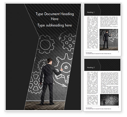 Business Concepts: Man at the Chalkboard with Cogwheel Sketch Word Template #15166