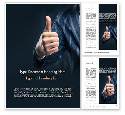 Business Concepts: Man Shows Thumb Up Word Template #15170
