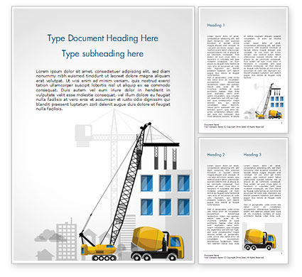 Construction: House Building Illustration Word Template #15171