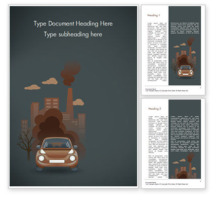 Automobile and Industrial Pollution Word Template, 15178, Nature & Environment — PoweredTemplate.com