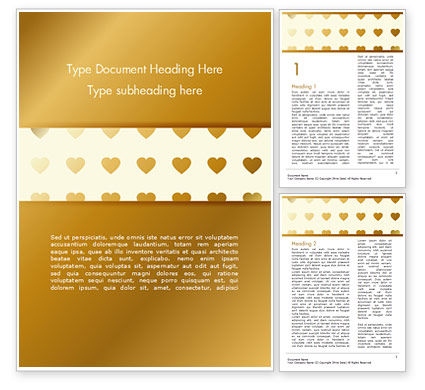 Background of Golden Hearts Word Template, 15180, Holiday/Special Occasion — PoweredTemplate.com