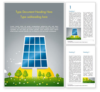 Solar Energy Word Template, 15182, Nature & Environment — PoweredTemplate.com