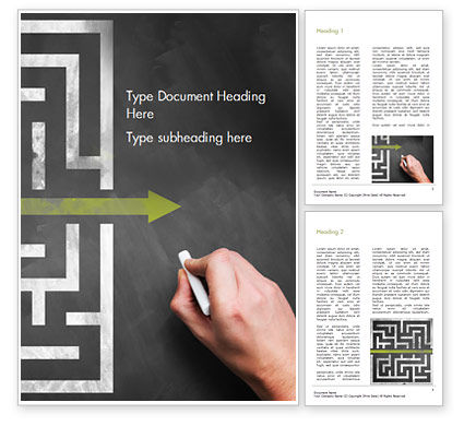 Business Concepts: A Hand Drawing Shortcut to Maze on Chalkboard Word Template #15194
