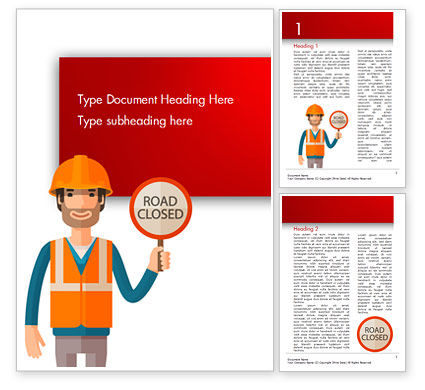 Man Holding Road Closed Sign Word Template, 15198, People — PoweredTemplate.com