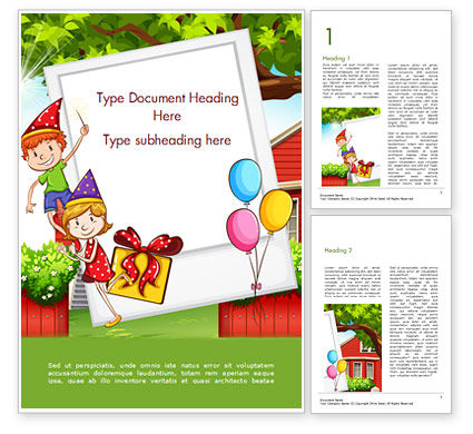 Holiday/Special Occasion: Children Having Birthday Party and Photo Frame Word Template #15202