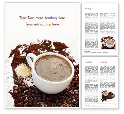Food & Beverage: Coffee Cup and Coffee Beans Word Template #15204