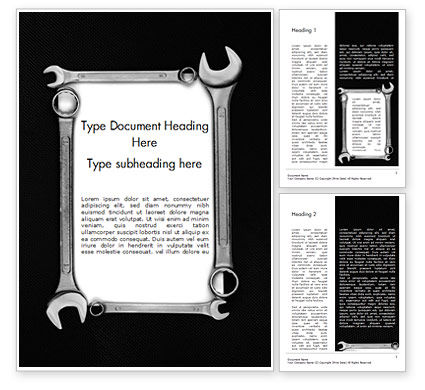 Careers/Industry: Blank Card with Wrenches Word Template #15217