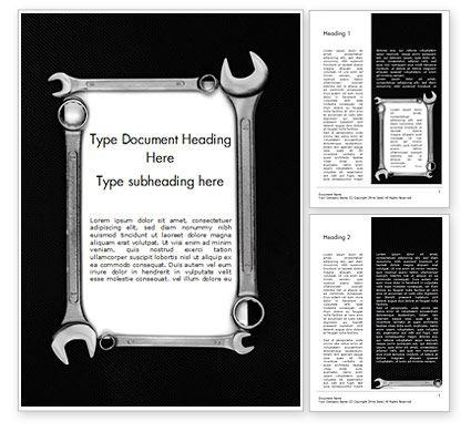 Careers/Industry: 워드 템플릿 - 렌치가있는 빈 카드 #15217