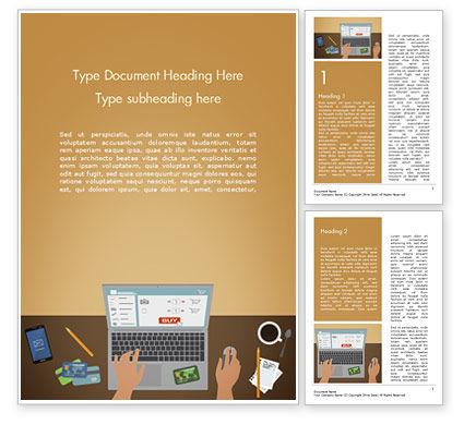 Business Concepts: 워드 템플릿 - 온라인 쇼핑 일러스트레이션 #15227