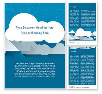 Paper Clouds Word Template, 15230, Nature & Environment — PoweredTemplate.com