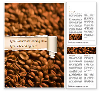 Food & Beverage: Blurry Coffee Beans Word Template #15239