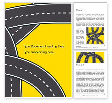 Construction: Roads Illustration Word Template #15259