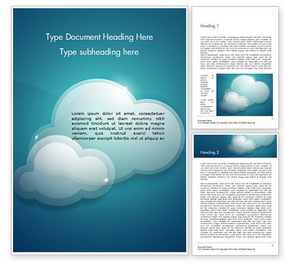 Turquoise Sparkling Clouds Word Template, 15264, Nature & Environment — PoweredTemplate.com