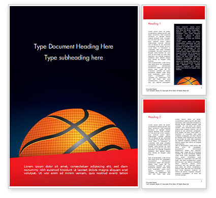 Basketball Ball on Blue Background Word Template, 15274, Sports — PoweredTemplate.com