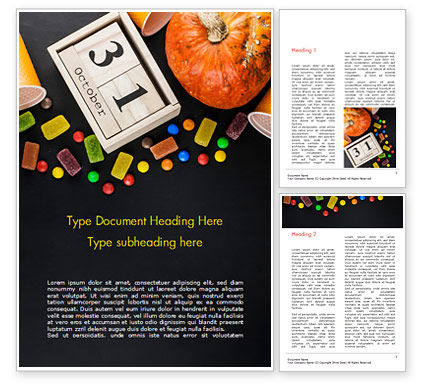 Halloween Sweets Word Template, 15275, Holiday/Special Occasion — PoweredTemplate.com