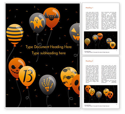 Holiday/Special Occasion: Halloween Balloons Word Template #15277