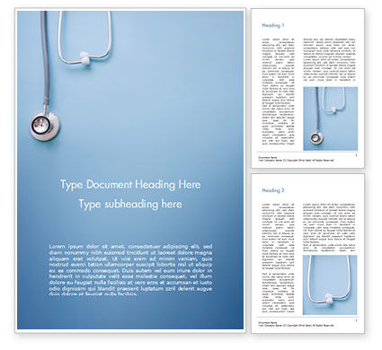 Stethoscope Word Template, 15279, Medical — PoweredTemplate.com