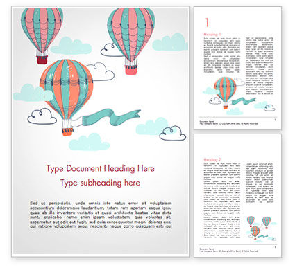 Holiday/Special Occasion: Vintage Hot Air Balloons Word Template #15283