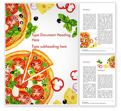 Margarita Pizza Word Template, 15286, Food & Beverage — PoweredTemplate.com