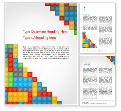 Lego Background Word Template, 15287, Education & Training — PoweredTemplate.com
