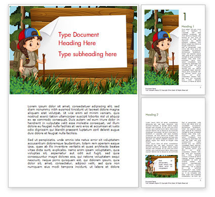 Girl Scout Word Template, 15292, Education & Training — PoweredTemplate.com