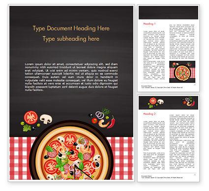 Spicy Shrimp Pizza Word Template, 15303, Food & Beverage — PoweredTemplate.com