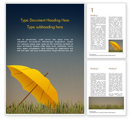 Careers/Industry: Bright Yellow Umbrella Word Template #15316