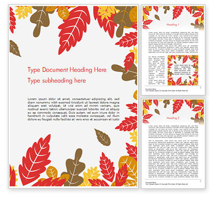 Nature & Environment: Autumn Oak Leaves Word Template #15320