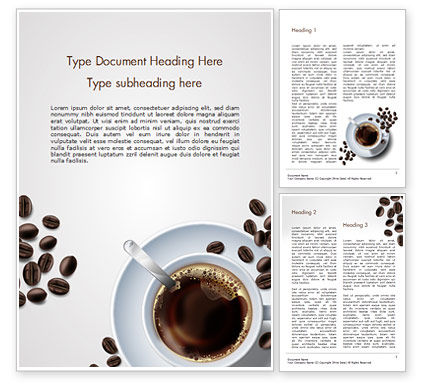 Food & Beverage: White Cup of Coffee Word Template #15328