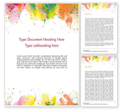 Colored Paint Strokes Word Template, 15335, Art & Entertainment — PoweredTemplate.com