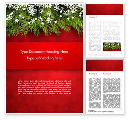 Holiday/Special Occasion: Christmas Tree Branches and Snowflakes Word Template #15339